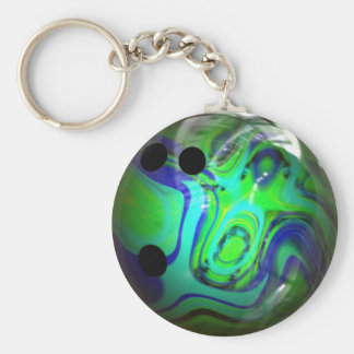 Green and Blue Swirl Bowling Ball Keychain