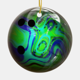 Green and Blue Swirl Bowling Ball Christmas Ornaments