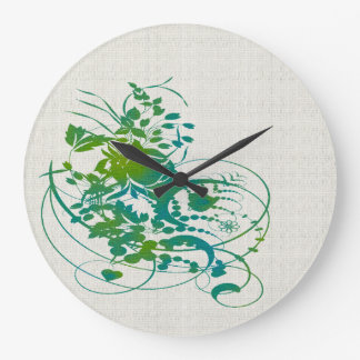 Green and Blue Swirly Flowers Clock