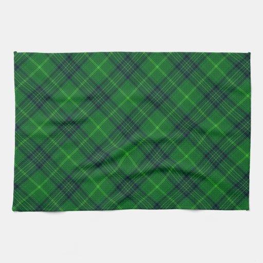 Green and Blue Tartan Plaid Pattern Kitchen Towels | Zazzle