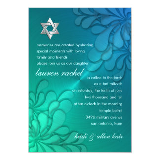Green and Blue Textured Metallic Sheen Look 5x7 Paper Invitation Card
