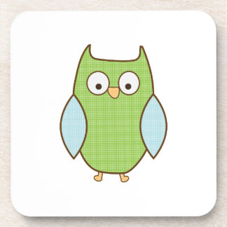 green and blue textured owl drink coaster