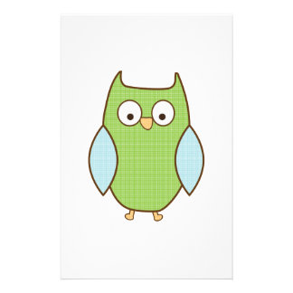 green and blue textured owl stationery design