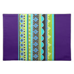 Green and blue tribal pattern cloth placemat