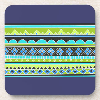 Green and blue tribal pattern beverage coasters