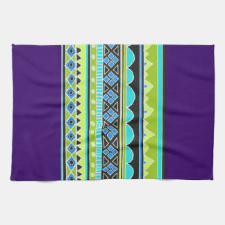 Green and blue tribal pattern hand towel