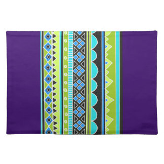 Green and blue tribal pattern placemat