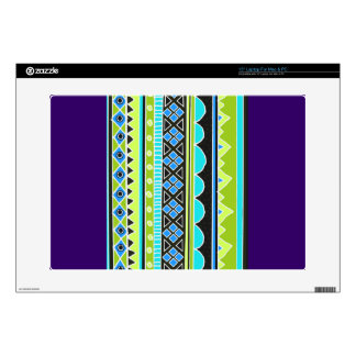 "Green and blue tribal pattern skins for 15"" laptops"