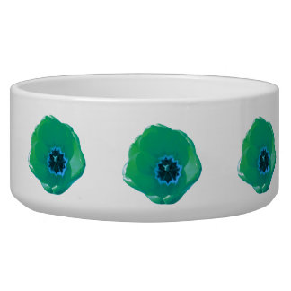 Green and Blue Tulip Dog Bowl