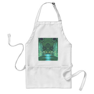 Green and Blue Water Fountains Overlay Adult Apron