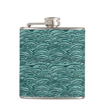 Green and blue waves pattern. Sea texture. Flask