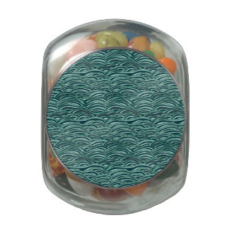 Green and blue waves pattern. Sea texture. Glass Candy Jars