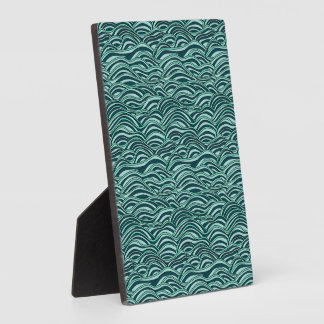 Green and blue waves pattern. Sea texture. Plaque