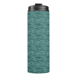 Green and blue waves pattern. Sea texture. Thermal Tumbler