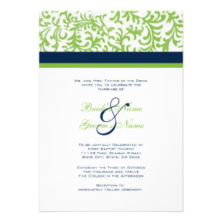 Green and Blue Wedding Invitation