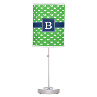 Green and Blue Whimsical Whales Pattern Monogram Desk Lamps