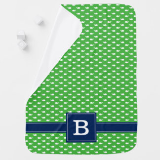 Green and Blue Whimsical Whales Pattern Monogram Receiving Blanket