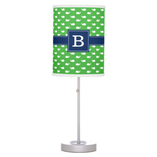 Green and Blue Whimsical Whales Pattern Monogram Table Lamp