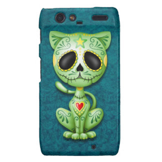 Green and Blue Zombie Sugar Kitten Motorola Droid RAZR Covers