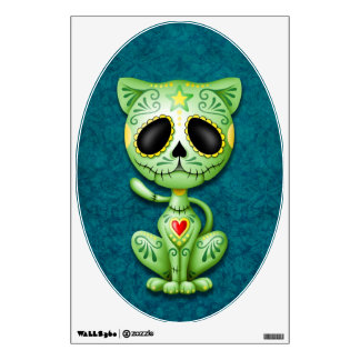 Green and Blue Zombie Sugar Kitten Wall Sticker