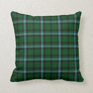 Green and Blues Tartan Plaid Pattern Throw Pillow