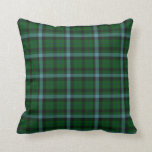 Green and Blues Tartan Plaid Pattern Throw Pillow