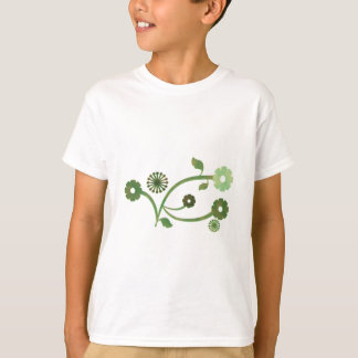 Green and Brown Abstract Floral T-Shirt