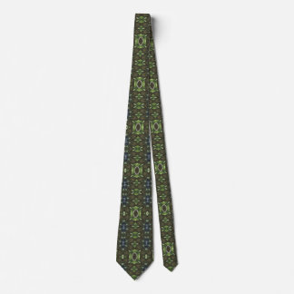 Green And Brown Abstract Print Tie
