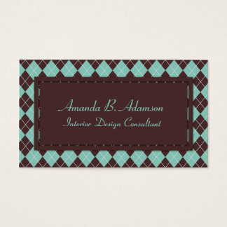 Green and Brown Argyle Plaid Pattern Business Card