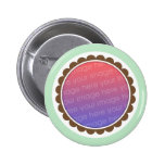 Green and brown baby photo frame pinback button