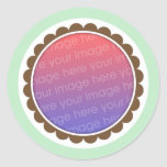 Green and brown baby photo frame seal stickers