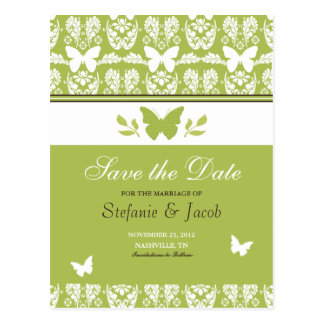 Green and Brown Butterfly Save The Date Postcard