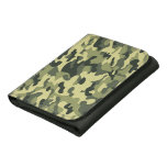 Green and Brown Camouflage Leather Tri Fold Wallet Trifold Wallet