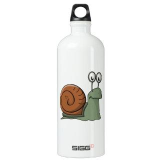 Green and Brown Cartoon Snail Aluminum Water Bottle