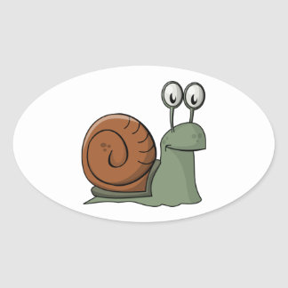 Green and Brown Cartoon Snail Oval Sticker