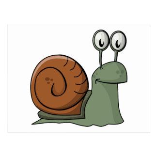 Green and Brown Cartoon Snail Postcard