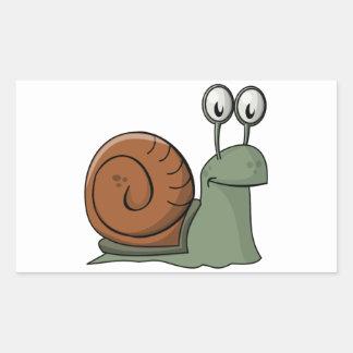Green and Brown Cartoon Snail Rectangular Sticker