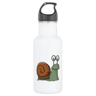 Green and Brown Cartoon Snail Stainless Steel Water Bottle