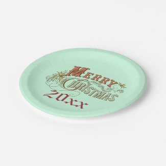 Green And Brown Christmas Plate