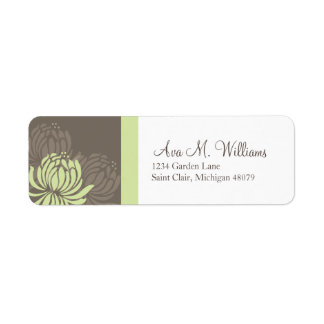 Green and Brown Chrysanthemum Address Label