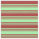 [ Thumbnail: Green and Brown Colored Striped Pattern Fabric ]