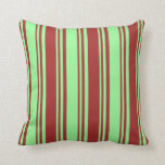 [ Thumbnail: Green and Brown Colored Striped Pattern Pillow ]