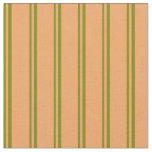 [ Thumbnail: Green and Brown Colored Stripes Fabric ]