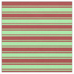 [ Thumbnail: Green and Brown Colored Stripes Pattern Fabric ]