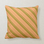 [ Thumbnail: Green and Brown Colored Stripes Throw Pillow ]