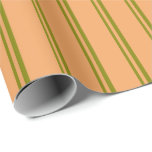 [ Thumbnail: Green and Brown Colored Stripes Wrapping Paper ]