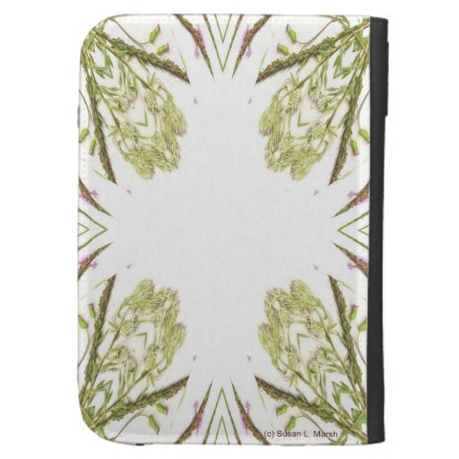 Green and brown corner kaleidoscope flowers case for the kindle