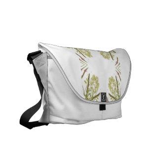Green and brown corner kaleidoscope flowers messenger bag