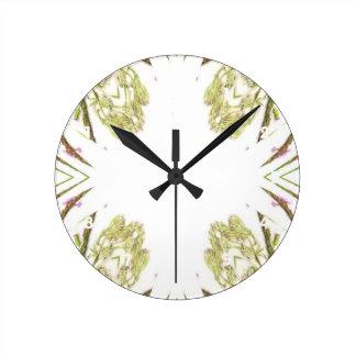 Green and brown corner kaleidoscope flowers round clock