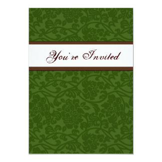 Green and Brown Damask Housewarming Invitation